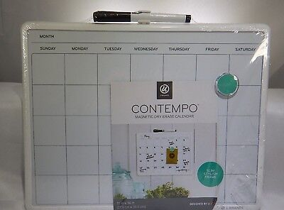 U Brands Contempo Magnetic Monthly Calendar Dry Erase Board 11 X 14 Es White T3