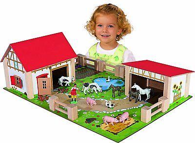 Eichhorn Holzspielzeug Bauernhof Holz Figuren Tiere Kinder 25tlg Kinderspielzeug