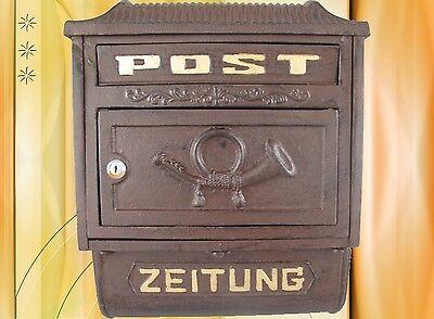 Briefkasten Zeitungsfach Wand Alu braun historische Post Letterbox Vintage Haus