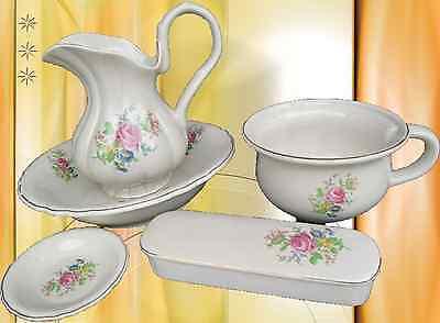 Wasch Set Nachttopf Waschschüssel Seifenschale Kamm Dose Porzellan Blumen 5 tlg