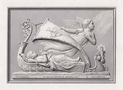 Allure Framed Art - Alluring FELIX MARTIN MILLER 1800s Engraving Wafting to Immortal Life FRAMED COA