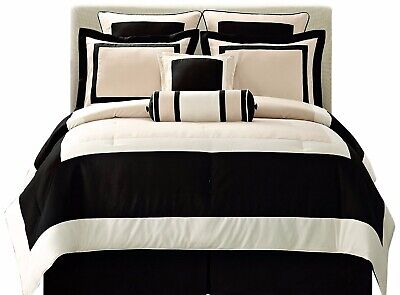 Ivory Queen Size Comforter (8 Pc Black Ivory GRAMERCY QUEEN Size Comforter Set Bedding -B0098LBQAK )