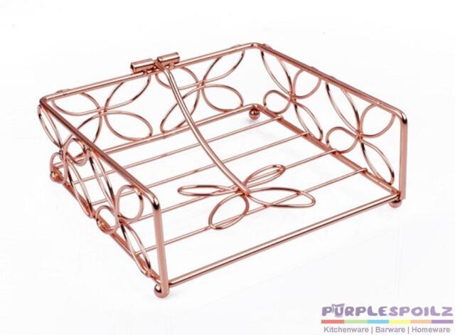 NEW COPPER FLORAL NAPKIN HOLDER Serviette Basket Tray Vintage Retro Metal Table