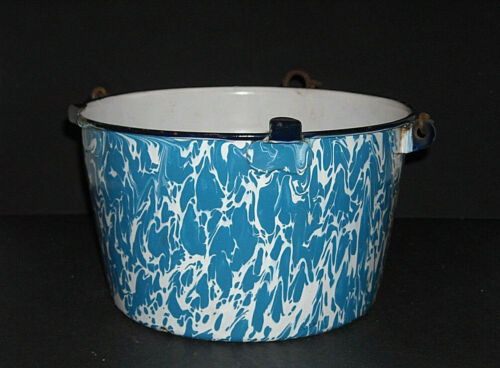 Vibrant Early Blue & White Swirl Graniteware Half-Bucket Enamel Ware