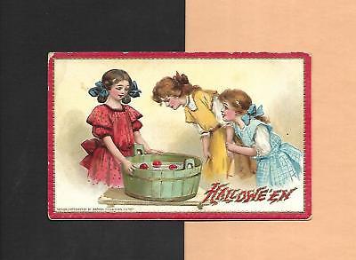 CHILDREN BOB FOR APPLES On Colorful TUCK Vintage Unused HALLOWEEN - Bob For Apples