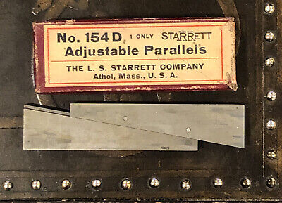 Vintage 1950s Starrett No. 154d Adjustable Parallels Machinist Tool Comes W Box
