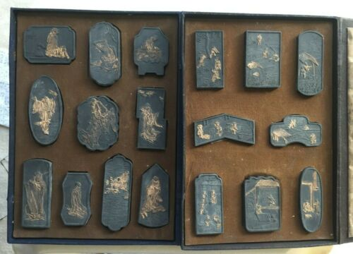 Two Vintage Chinese Ink Cake Stones Sets Signed