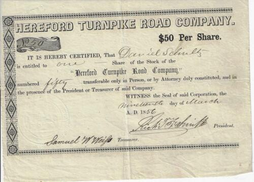 1856 PENNSYLVANIA Hereford Turnpike Road Company Stock Certificate #50