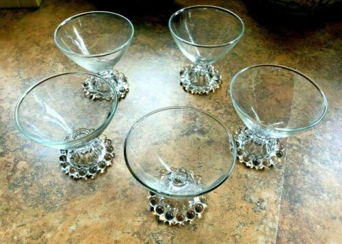 BOOPIE GLASSES - Anchor Hocking (5) CLEAR CHAMPAGNE/SHERBET - VINTAGE - VG