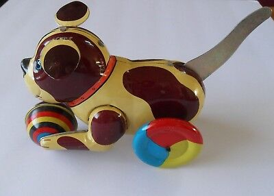 Dog Tin Metal Push and Go Toy Wind up Rolls on Wheels Blic