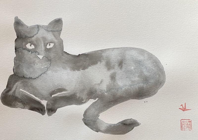 David Mack original art watercolor cat