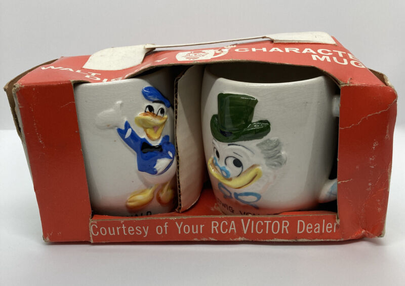 Vintage Walt Disney Donald Duck & Ludwig Von Drake Mug Cups Original Box Japan