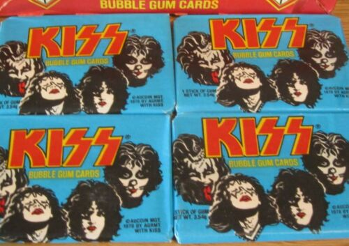 KISS Aucoin TRADING CARDS 1978 VINTAGE  4 SEALED PACKS  donruss gene paul ace