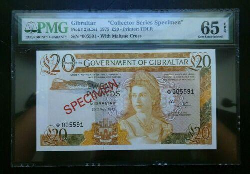"GIBRALTAR  20 Pounds ""Collector Series SPECIMEN""  1975  PMG Gem UNC EPQ Banknote"