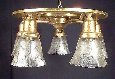 ANTIQUE EARLY 20th CENTURY ART NOUVEAU ARTS+CRAFTS BRONZE BRASS 5 ARM CHANDELIER Arts & Crafts Bronze Chandelier