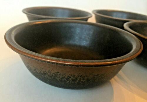 "Lot 4 Coupe Cereal Oatmeal Bowls ARABIA Finland RUSKA ULLA PROCOPE Brown 6 1/8"""