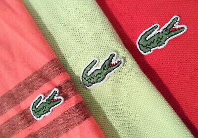 Lot of 3 Lacoste Men's Shirt Size 5 Medium S/S Button Up Polo Top w/ Gator Logo