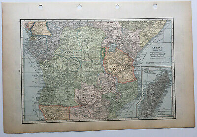 Map Of Africa Central Part Madagascar Rhodesia Belgian Congo  C1930 Antique