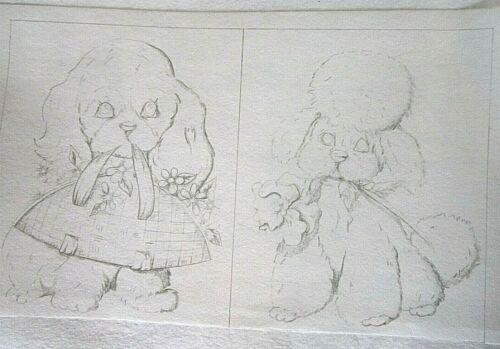 Tri-chem Artex 2091 Puppy & Poodle 2 Dog Pictures to paint 8X10