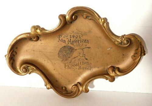 Antique Pan American Exposition Souvenir Brass Metal Pin Tray Buffalo 1901