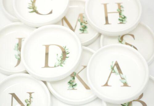 Gold Greenery Initial Monogram Jewelry Dish Ring Tray Ceramic Trinket Holder