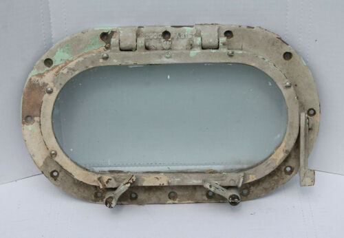 VINTAGE CHRIS CRAFT LARGE BRONZE PORTHOLE WINDOW - OVAL - 40s 50s