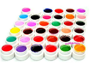 36 Pots Cover Pure Colors UV Gel for UV Nail Art Tips Extension Nail Tips