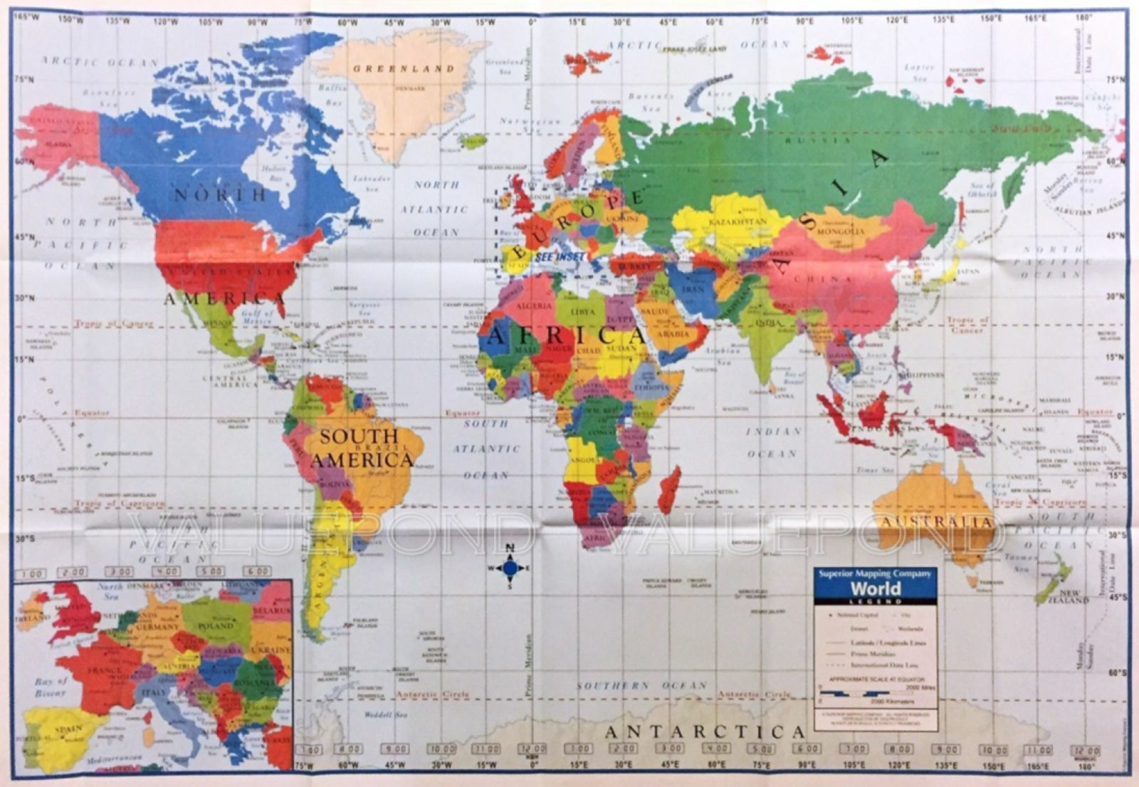 World Wall Map Superior Mapping Company Poster Size 40 x 28