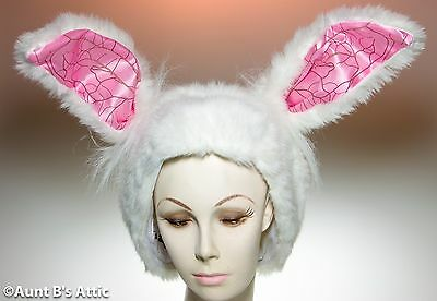 Hat/Hood White Rabbit Eared Hood Alice In Wonderland Rabbit Costume Accessory - Rabbit In Hat Costume