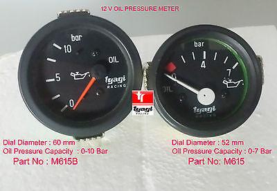Oil Pressure 12V Meter Gauge 0-7 Bar , 0-10 Bar 52mm 60mm Black Dial Clock Car ()