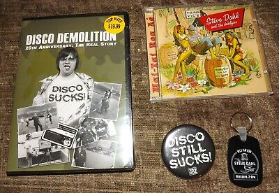 Disco Demolition 25 Anniversary DVD Steve Dahl Lot CD Keychain Button WCKG WLS