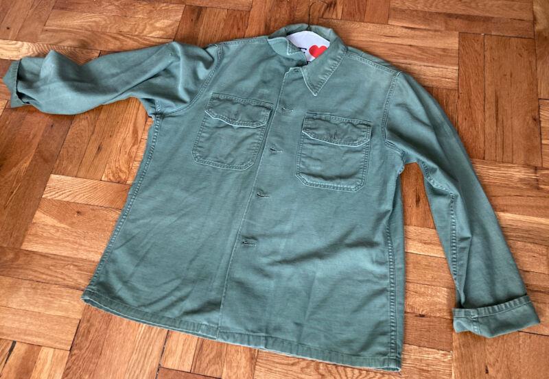Vintage 60s US Army Sateen OG-107 Cotton Utility Shirt Men's Size Large