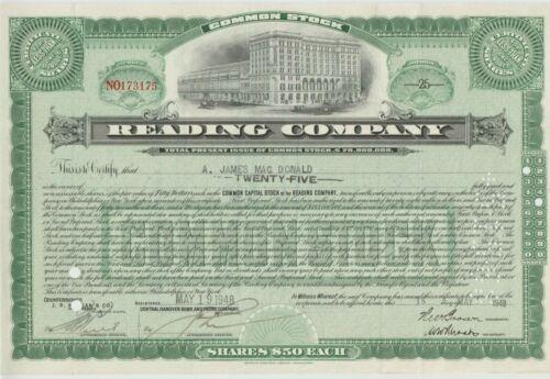 Older Reading Company Stock Certificate Railroad Green