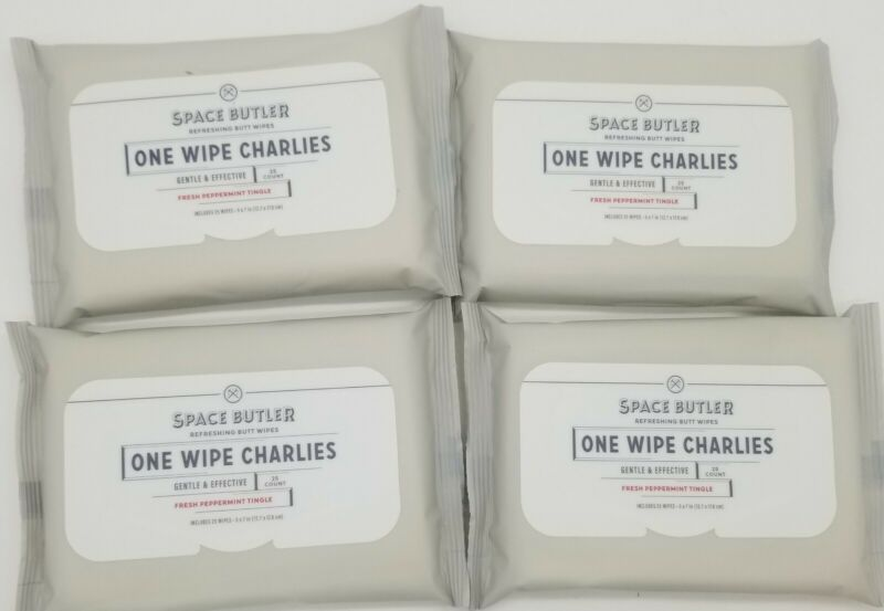 One Wipe Charlies Refreshing Butt Wipes 4 Packs Of 25 Ea Fresh Peppermint Tingle