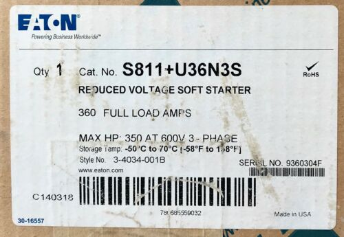 EATON CUTLER HAMMER S811+U36N3S 360AMP 350HP S811 S811+ Soft Starter 3 4034 001B