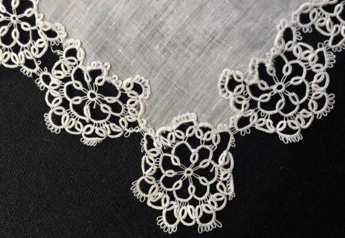 "Antique Tatting Lace Trim  White Fine Linen Doily Scalloped Edges 6 1/2"" SQ"
