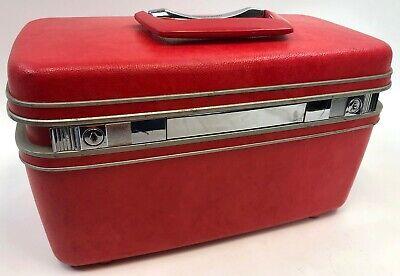 Vintage 1970 SAMSONITE SILHOUETTE Red Pink Makeup Train Case Overnight Hard Bag