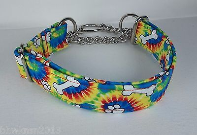 (Half Check Martingale TIE DYE PAWS BONES Terri's Dog Collar hand made adjustable)