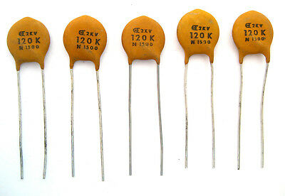 High Voltage Ceramic Disc Capacitors 120pf 2000v 5lot Great Price