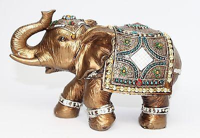 Feng Shui Elegant Elephant Trunk Statue Lucky Wealth Figurine Gift & Home - Elephant Decor