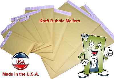 Kraft Bubble Mailers - Sizes 000000123467. Qty 102550100250500