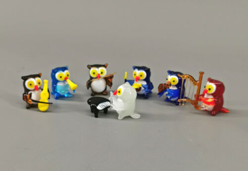 9912010-x Set 7 Glas Figures Musician Owls Concert H2, 2in Mouth-Blown