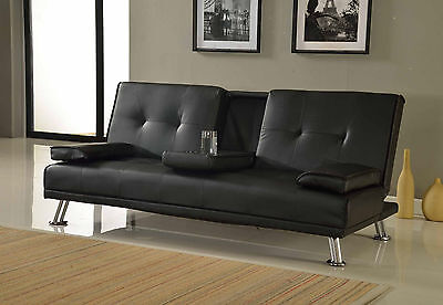 Sofa Bed Faux Leather Cupholder 3 Seater Black Brown Red Cream Chrome Legs New