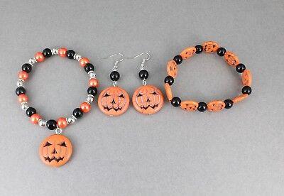 Halloween jewelry earrings bracelet orange pumpkin jack o lantern beaded - Halloween Beaded Jewelry