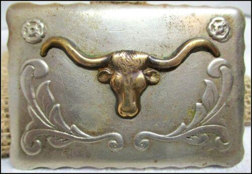 Fantastic ANTIQUE RENALDE LONG HORN Solid Nickle Rare Cowboy Belt Buckle