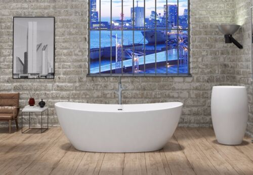 "Freestanding Solid Surface Bathtub   White 65""   Stone Resin Soaking Tub Avalon"