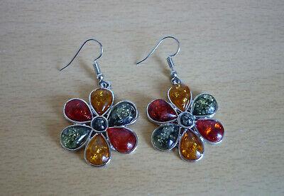 Zilverkleurige oorbellen met grote bloem en geel oranje groene stenen  NIEUW