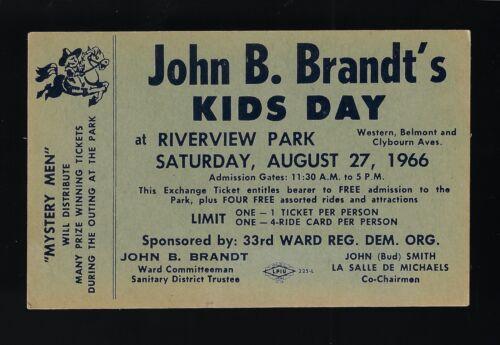 Vintage Ticket 1966 Chicago John B. Brandt