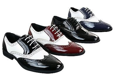 Mens Lace Patent Brogues Shoes Gatsby Classic 1920's Shiny White Black Red - Mens 1920 Shoes