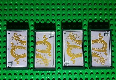 Lego Lot Of 4 60596 Green Door Frame 1 x 4 x 6 Type 2 With Dragon (Types Of Frames Glasses)